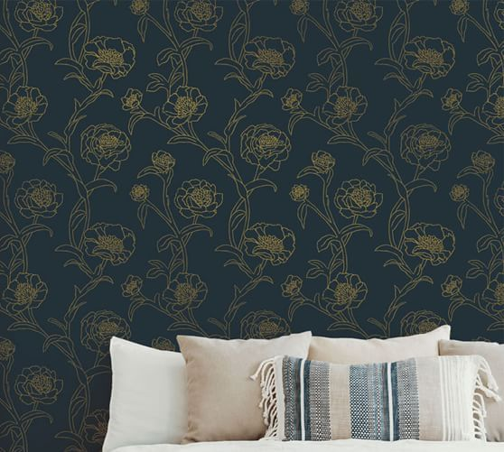 Peonies Peacock Blue Gold Wallpaper In 2020 Blue And