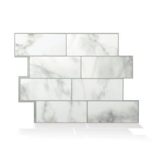 Smart Tiles Metro Blanco 11 56 In W X 8 38 In H White Peel And Stick Self Adhesive Decorative Mosaic Wall Tile Backsplash Sm1089 1 Smart Tiles Mosaic Wall Tiles Decorative Wall Tiles