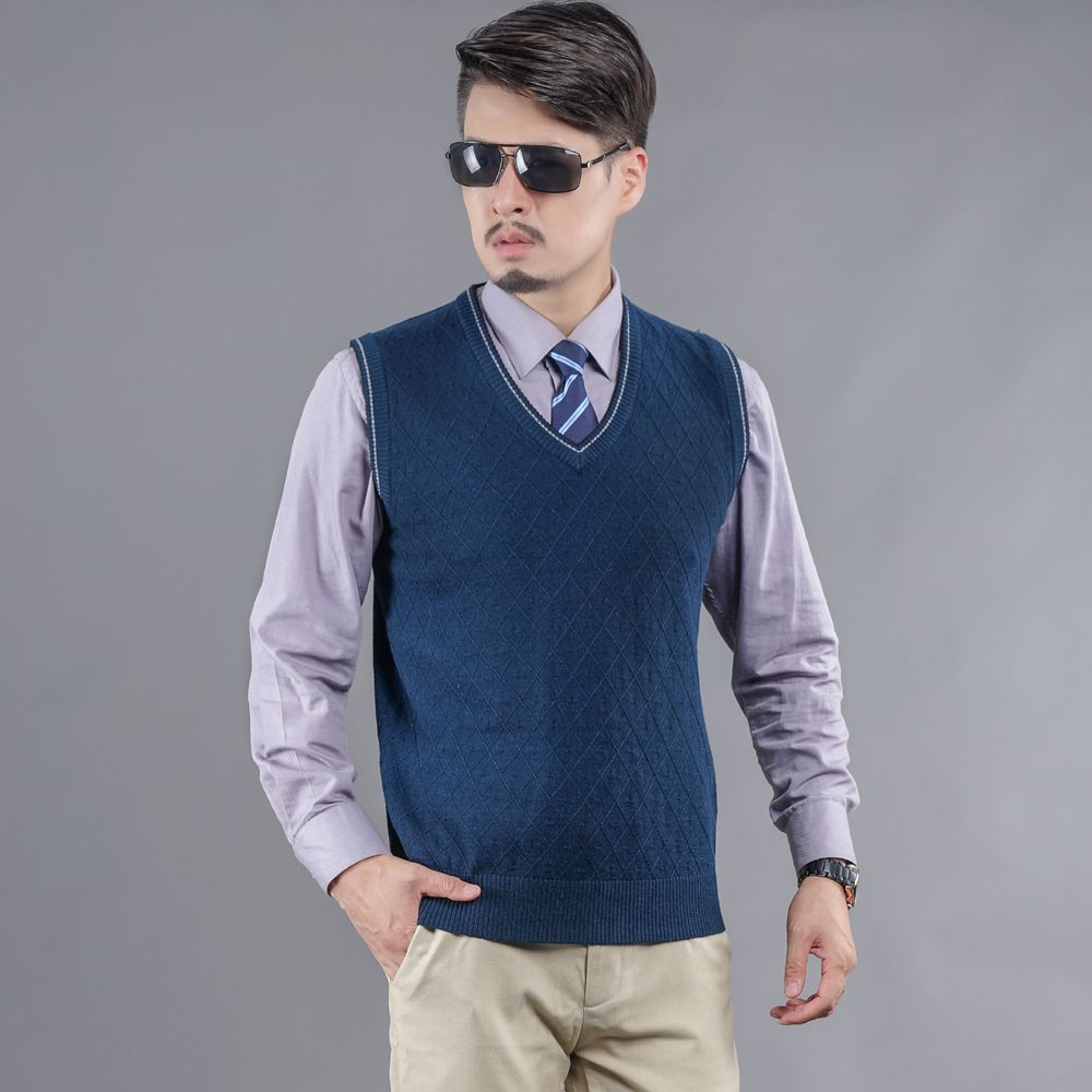 Hot Sale Mens Autumn Knitted Sleeveless Cashmere Sweater Solid ...