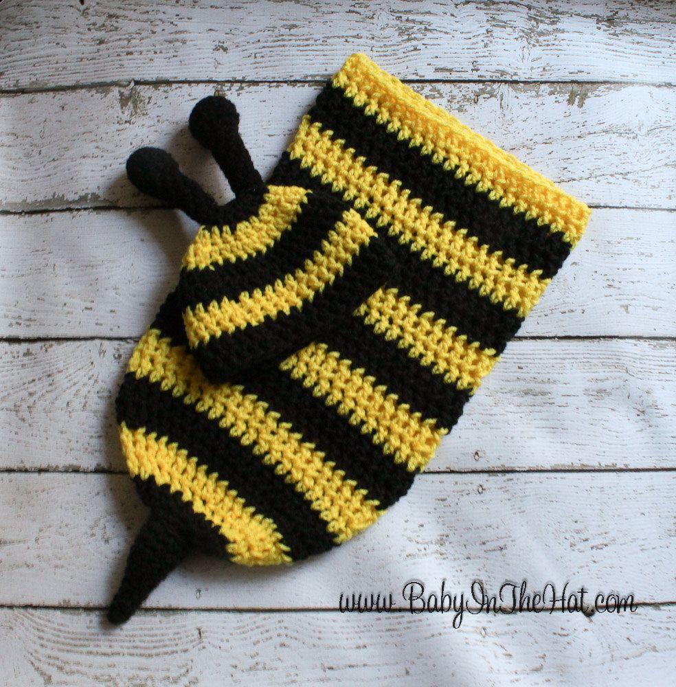Newborn Bumble Bee Crochet Hat And Cocoon Photo Prop Set | Recién ...