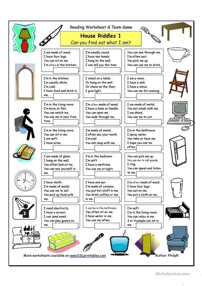 House Riddles 1 Easy Eng Language Pinterest Worksheets