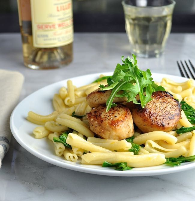 Seared Scallops with Pasta Arugula and Meyer Lemon Butter Sauce - Pinch and Swirl