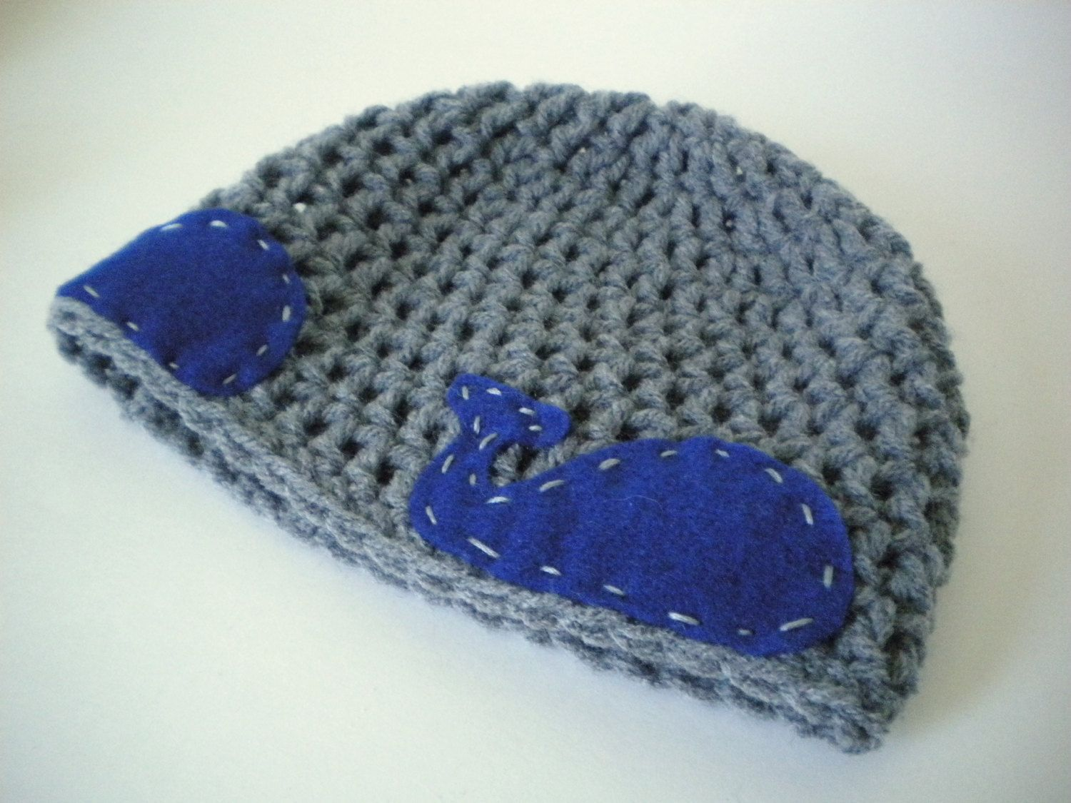 Crochet Hat - Aquatic Beanie in Blue-Gray with Navy Blue Felt Whales ...
