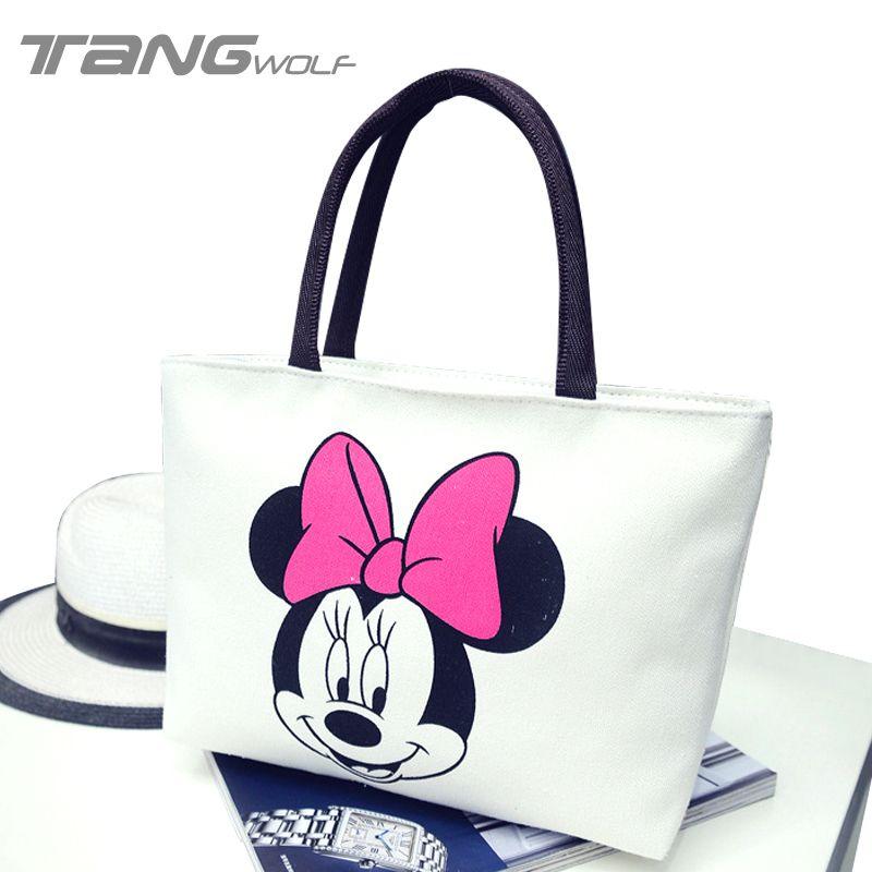 New Fashion Girls Casual Canvas Shoulder Bag Tote Women Cartoon Mickey  Handbag Big Capacity Hello Kitty e647e699c2c1f