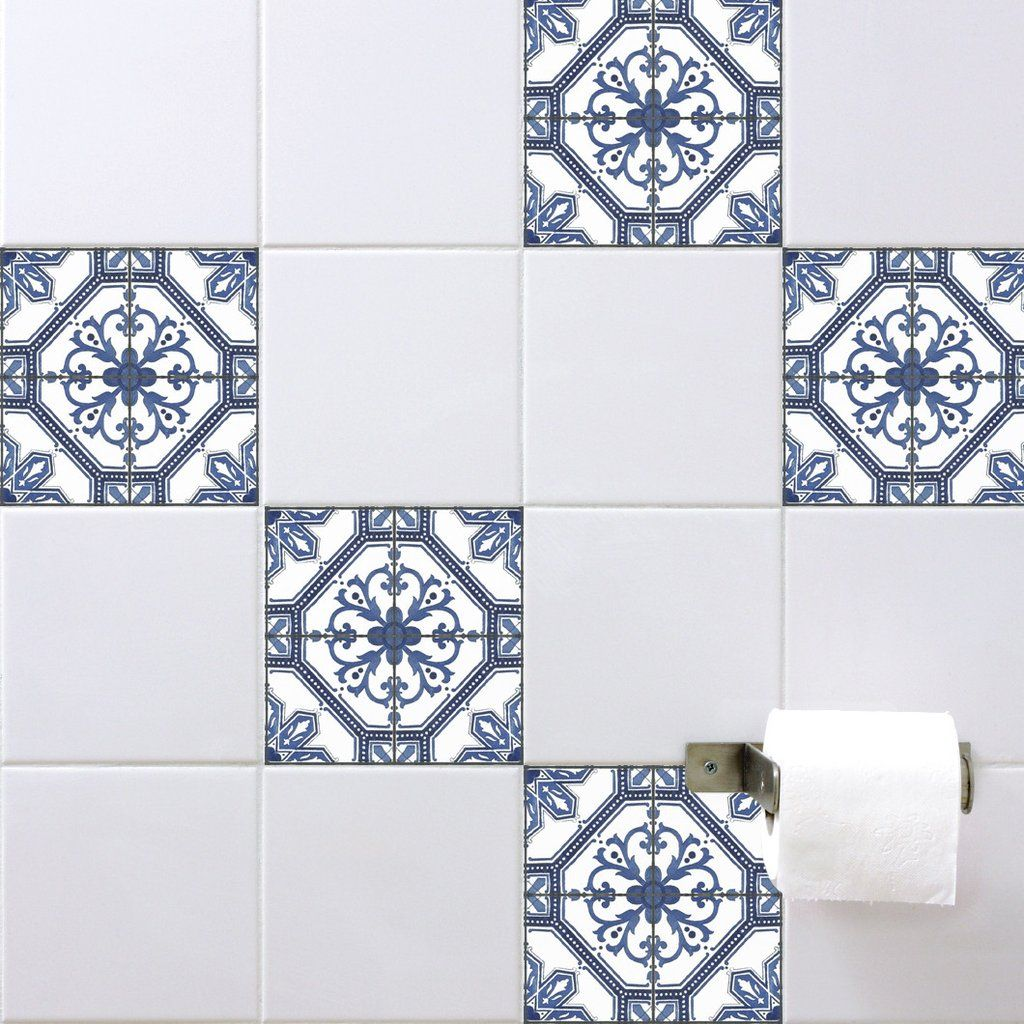 Spanish Tile Stickers Antique Blue Bathroomlaundry Perfection - Blue-bathroom-tile-stickers