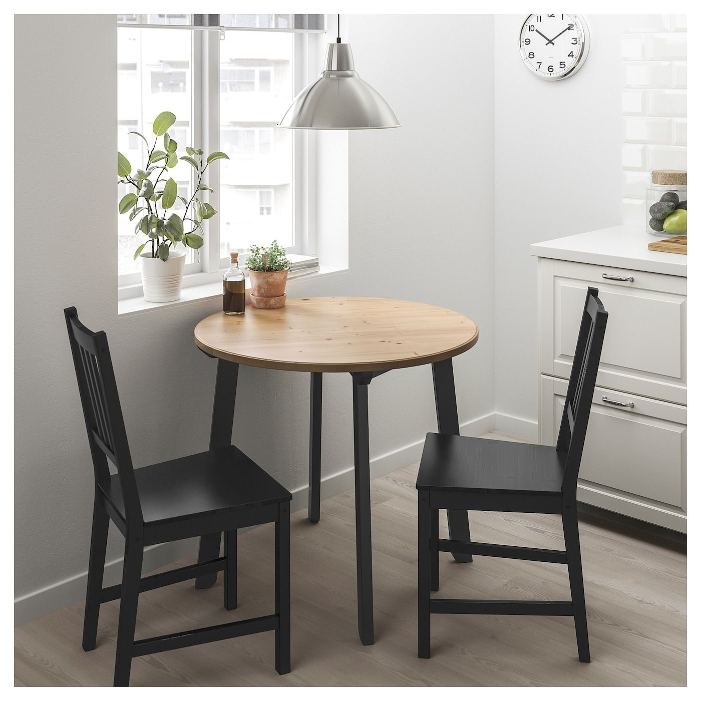Gamlared Stefan Table And 2 Chairs Light Antique Stain Brown Black Ikea Dining Room Small Small Kitchen Tables Small Dining Table