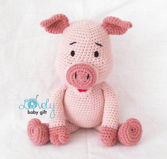 Ferkel häkeln Muster Rosa Amigurumi Schweinchen von LovelyBabyGift ...