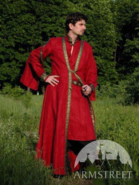 Men's Medieval Flax Tunic and Overcoat Garb Coat Costume.