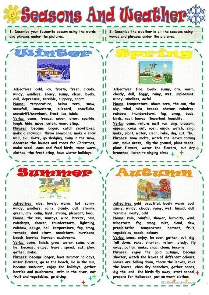 Seasons And Weather การเรียนรู้, การศึกษา, ไวยากรณ์อังกฤษ