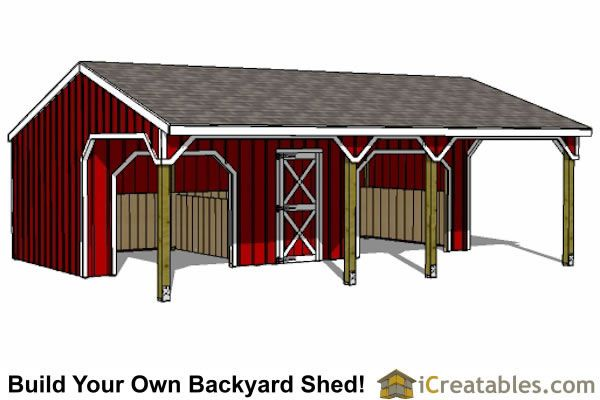 2 Stall Run In Shed With Tack Room Horse Barns: 2 stall horse barn