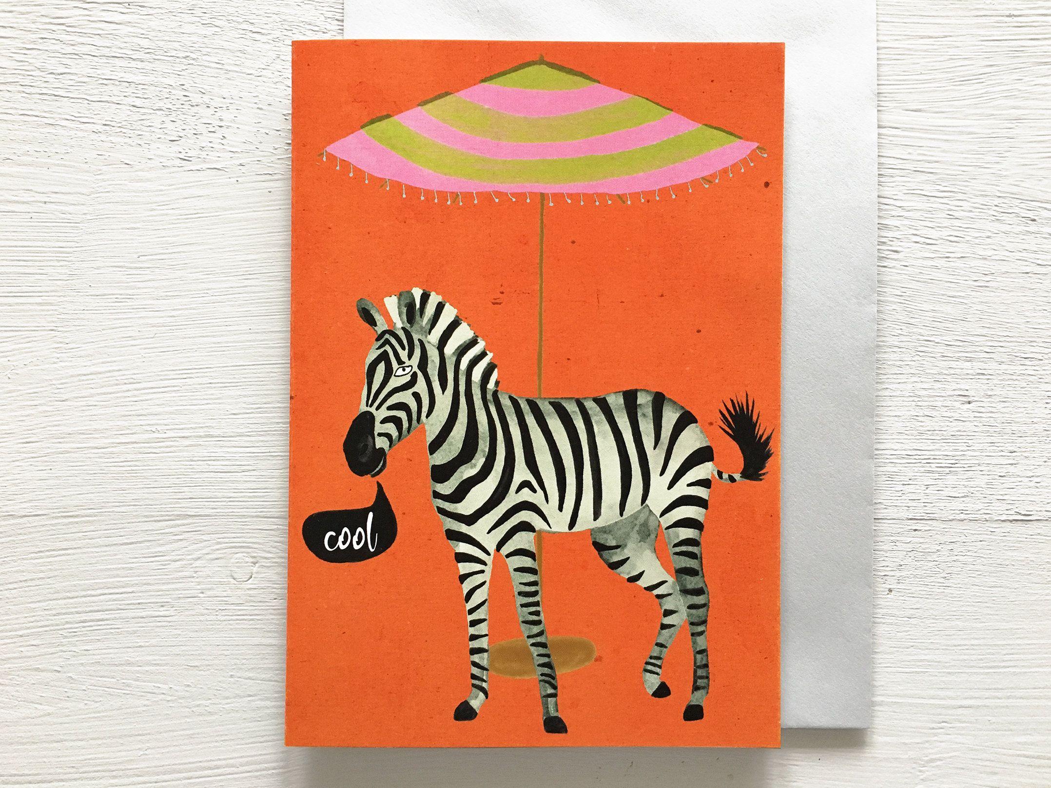 cool zebra birthday card a6  tropical holiday zebra