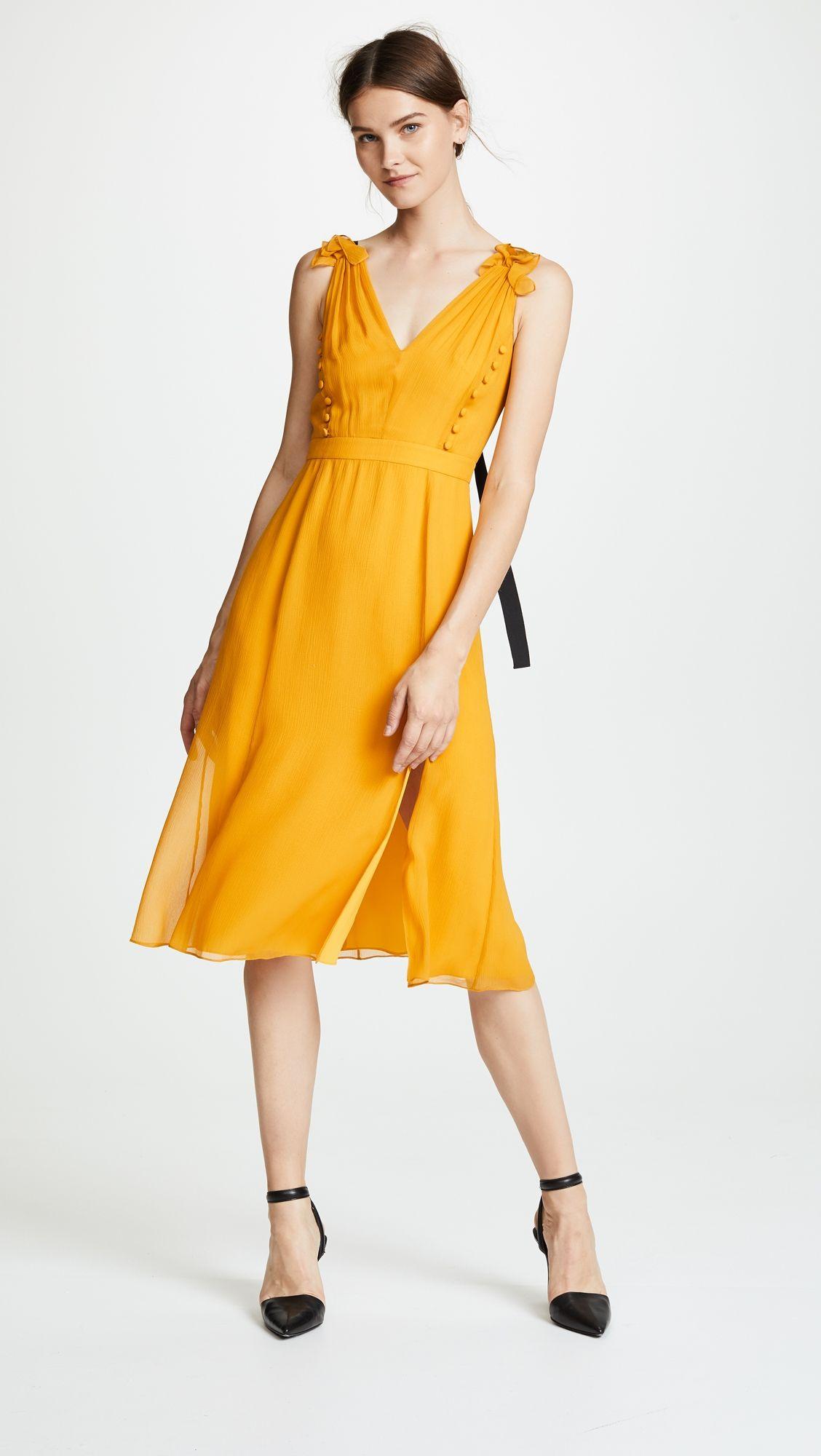 Prabal Gurung Deep V Silk Dress with Button Detail 301c1465e