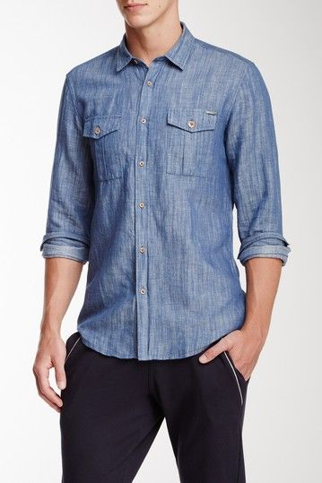 Long Sleeve Chambray Shirt by Antony Morato in Avio