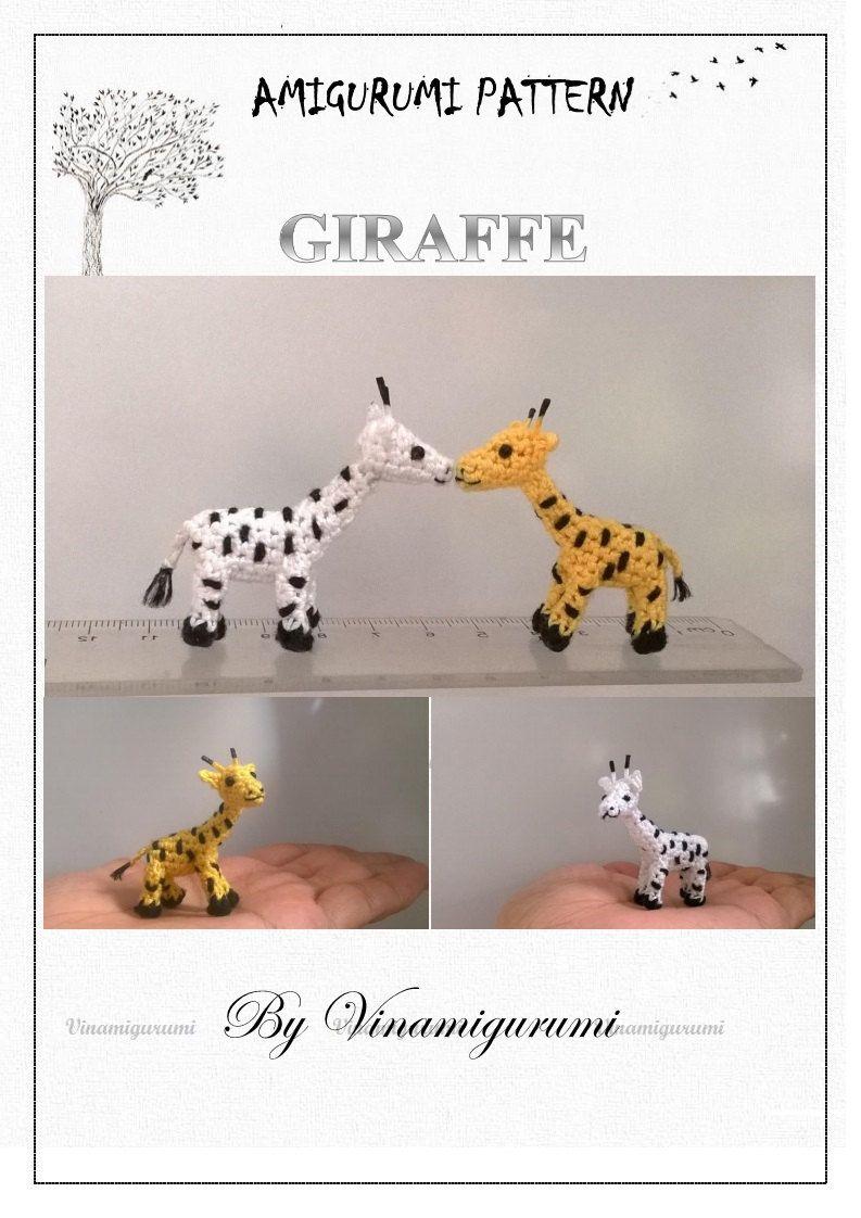 Mini Giraffe Pattern, miniature amigurumi, animals crochet - PDF INSTANT DOWNLOAD by Vinamigurumi on Etsy