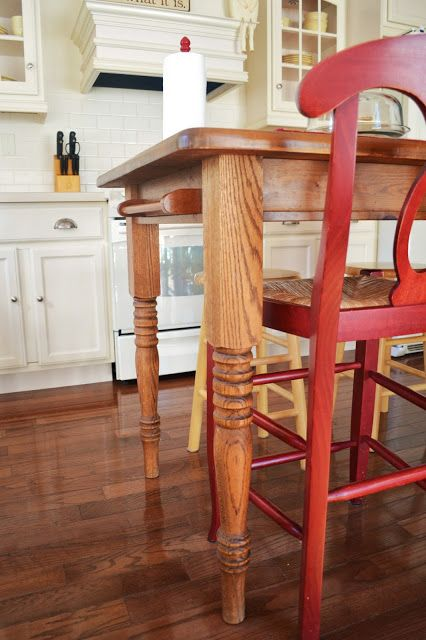 Turn Your Kitchen Table Into A Farmhouse Island Farmhouse Kitchen Tables Diy Farmhouse Table Farmhouse Table