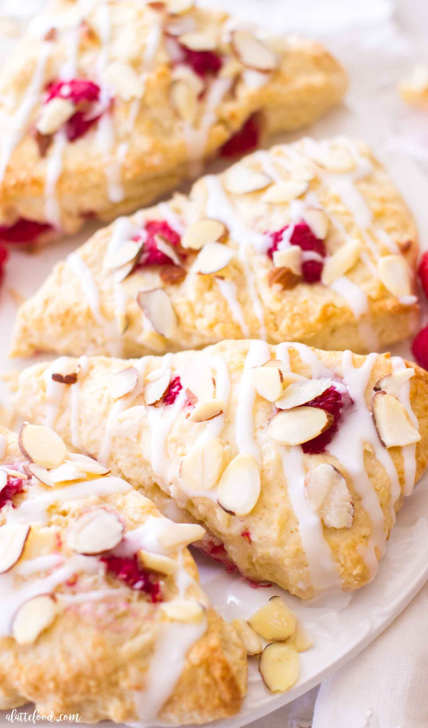 These Raspberry Almond Cream Scones Are Made With Sour Cream And Fresh Raspberries Easy Raspberry Scones Beg In 2020 Cream Scones Recipe Raspberry Almond Scone Recipe