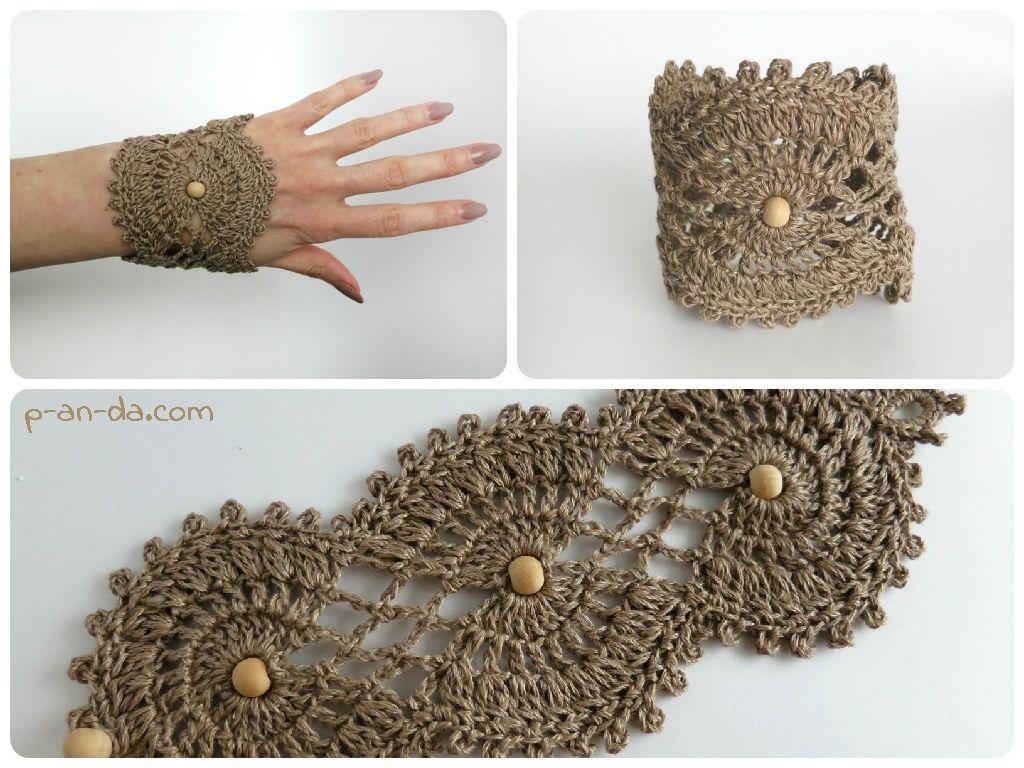 Crochet Bracelet pdf pattern Браслет БохоStyle Ажурный (мастер-класс ...
