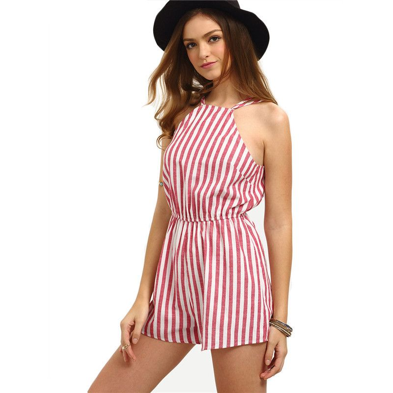 Sheinside Multicolor Sleeveless Vertical Striped Jumpsuit Found on my new  favorite app Dote Shopping