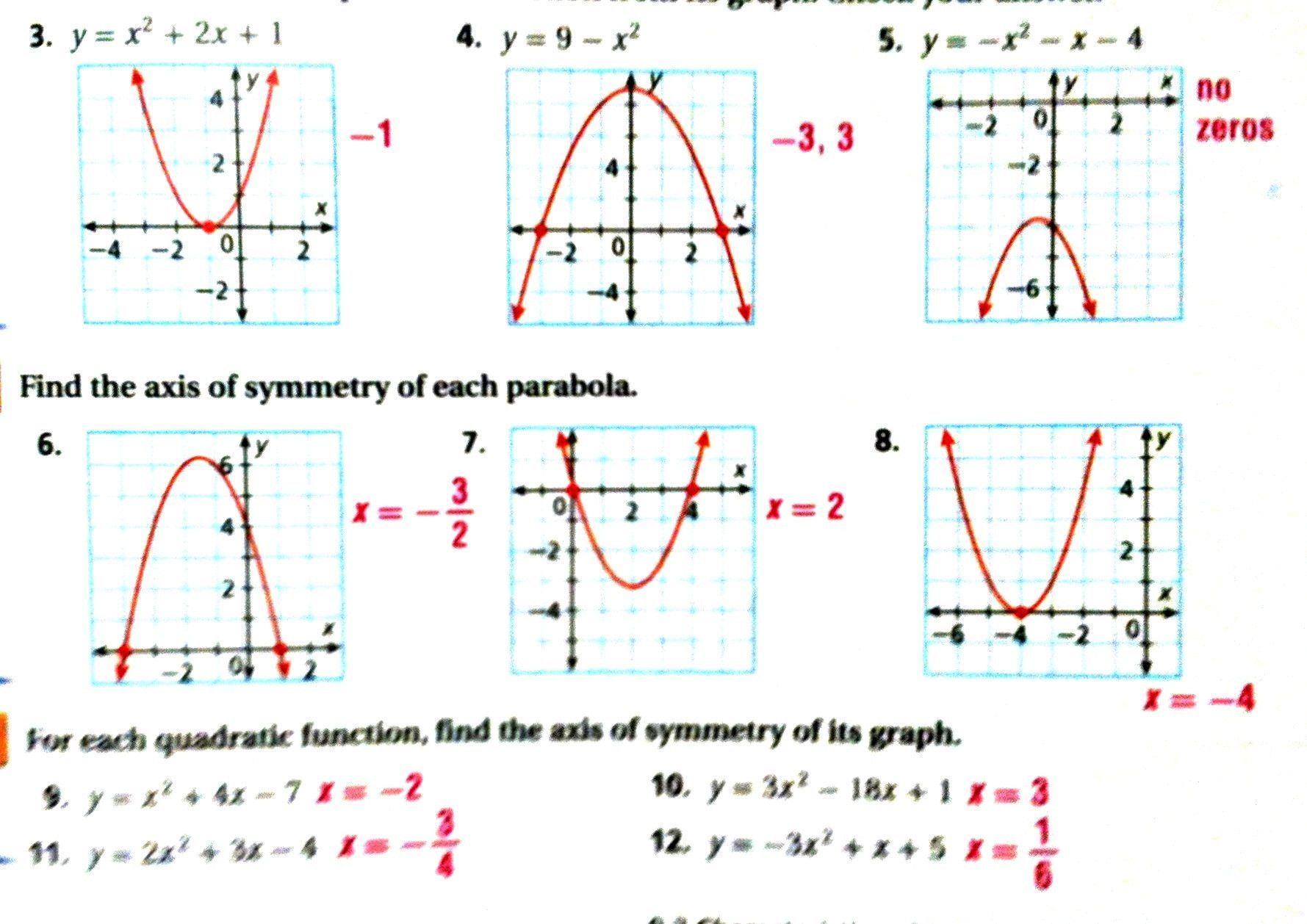 Characteristics Quadratic Functions Worksheet Worksheets