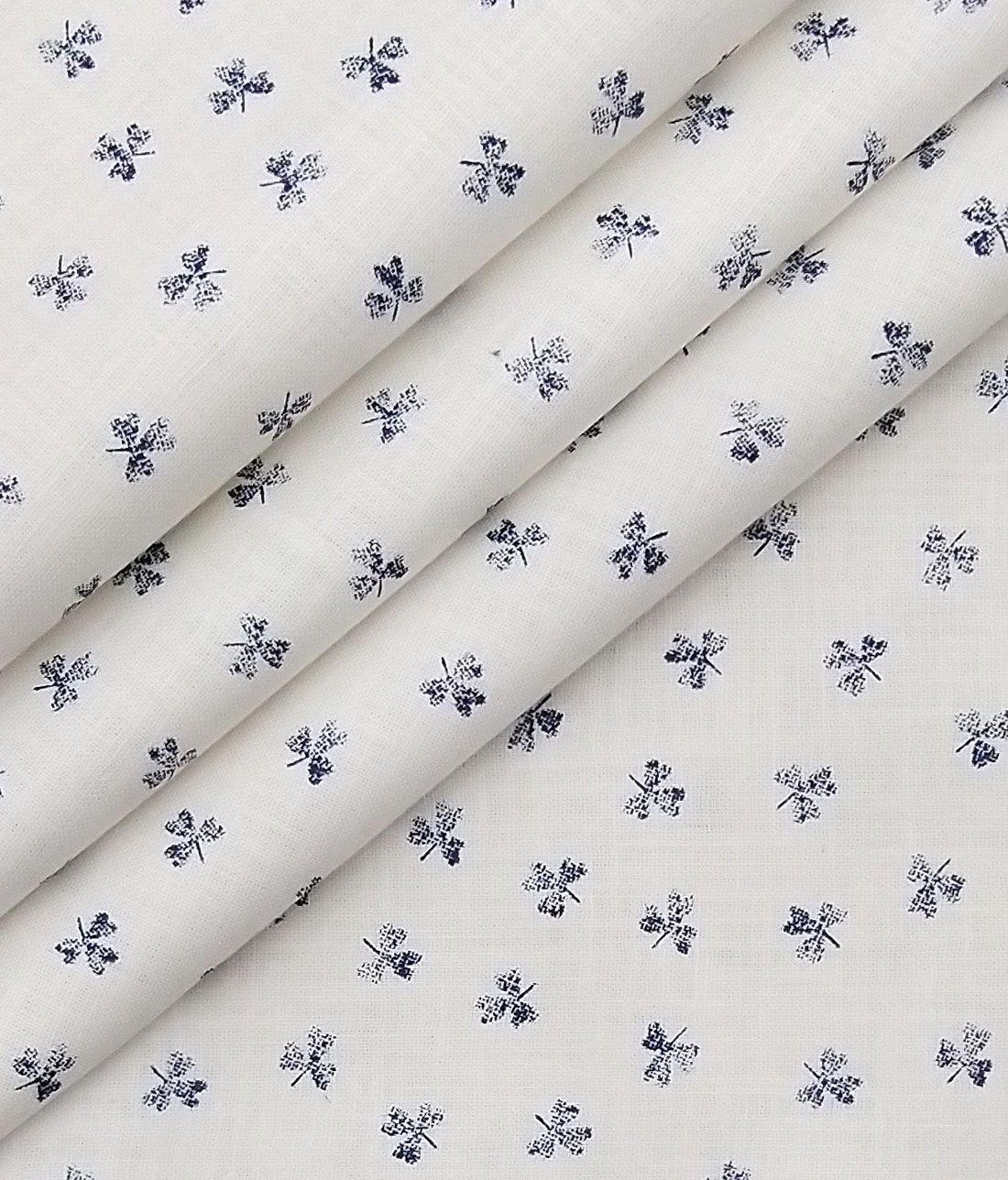 b6b5f8739e8 Combo of Raymond Dark Blue Self Design Trouser Fabric With Monza Off-White  100% Cotton Printed Chambray Shirt Fabric (Unstitched)