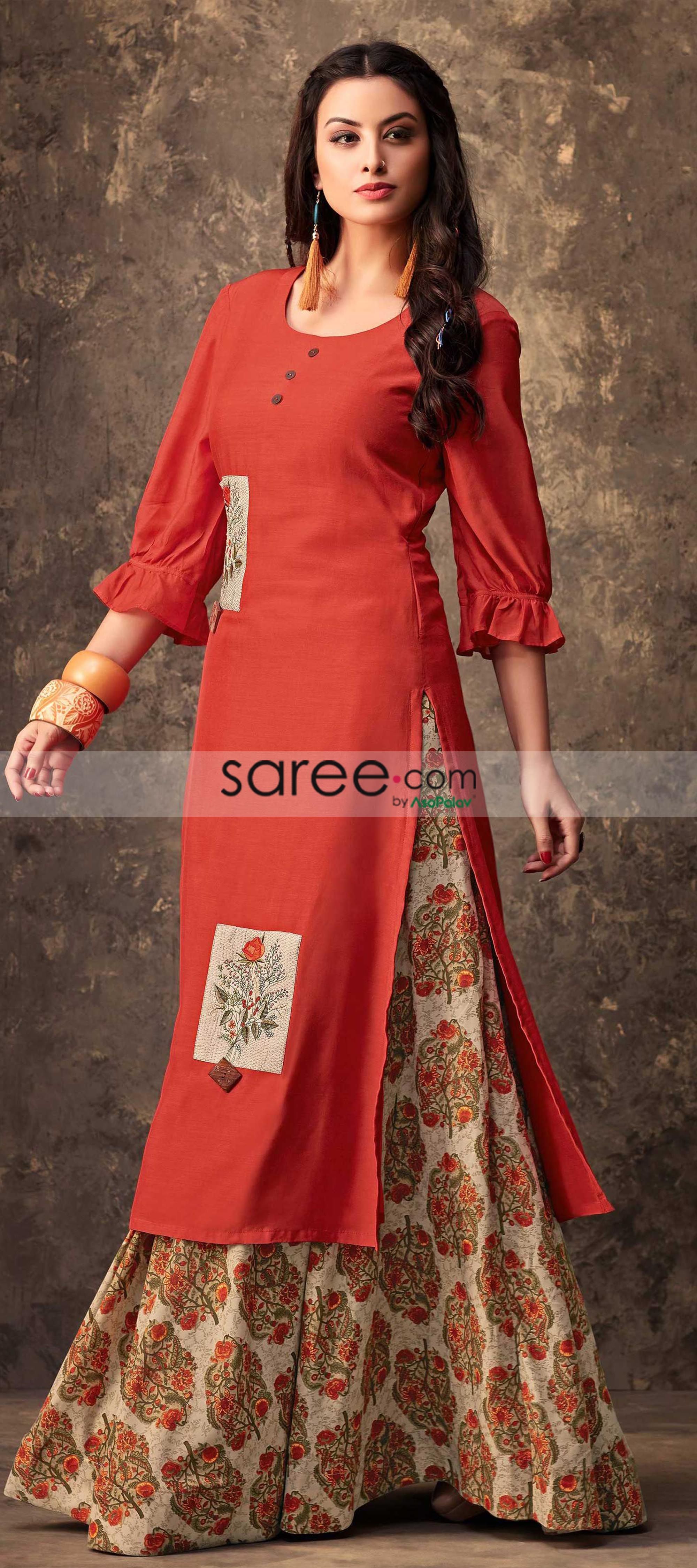 5f966ae26c Orange Muslin Cotton Kurti With Printed Skirt | Pakistani Palazzo ...