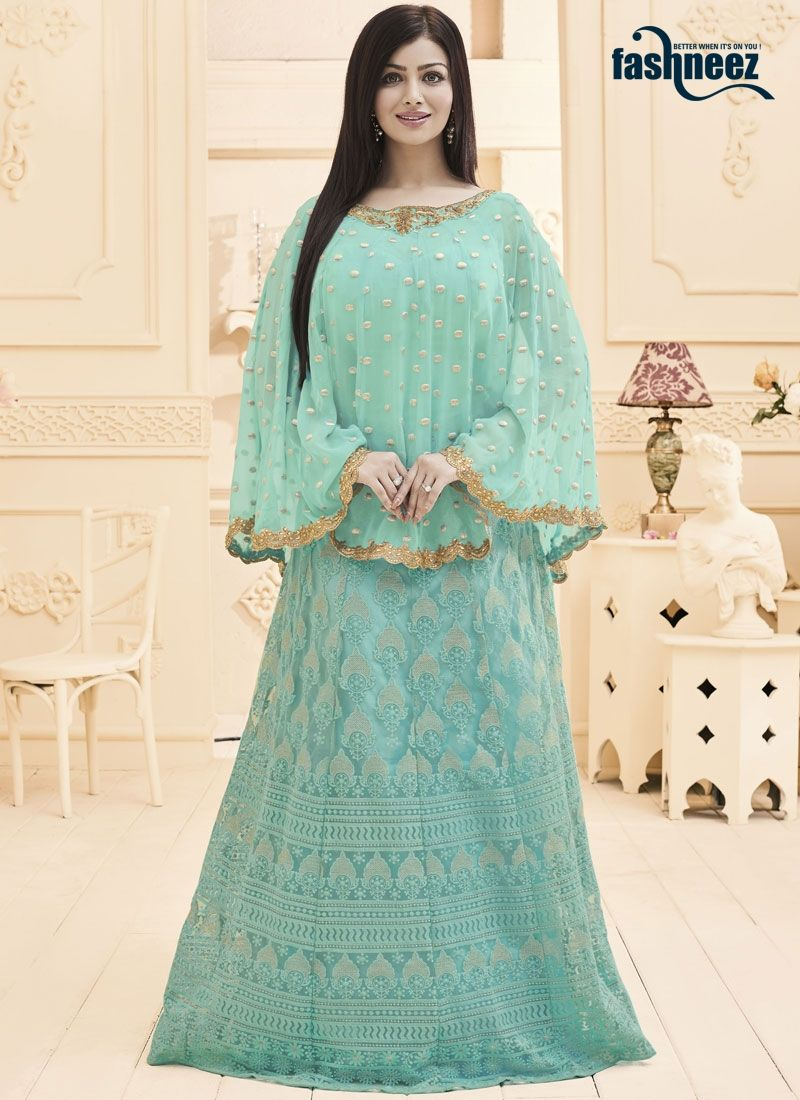 Women beauty is magnified tenfold in this ayesha takia blue faux