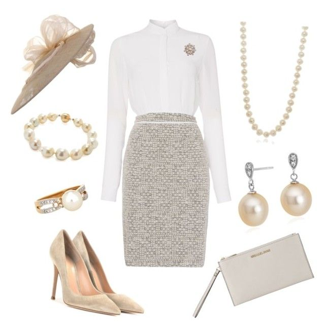 """Arrival Ceremony"" by nmccullough ❤ liked on Polyvore featuring Mode, HUGO, MICHAEL Michael Kors, Gianvito Rossi, Bling Jewelry, Blue Nile, Giovane und Belpearl"