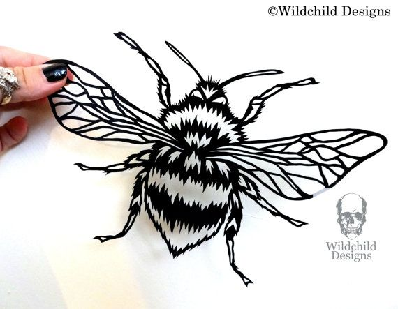 Bumblebee Bumble Bee Benus Bombus Paper Cut Template For Personal Use Papercut Cutting Honey Insect Summer By Wildchild Designs