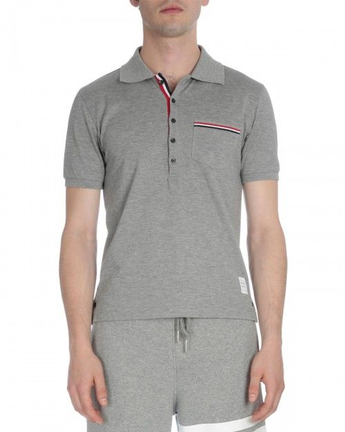 Buy Cheap Store Short Sleeve Polo Shirt In Light Grey Pique Thom Browne Free Shipping Outlet Store Sale With Mastercard Sale Latest DpzX3QS