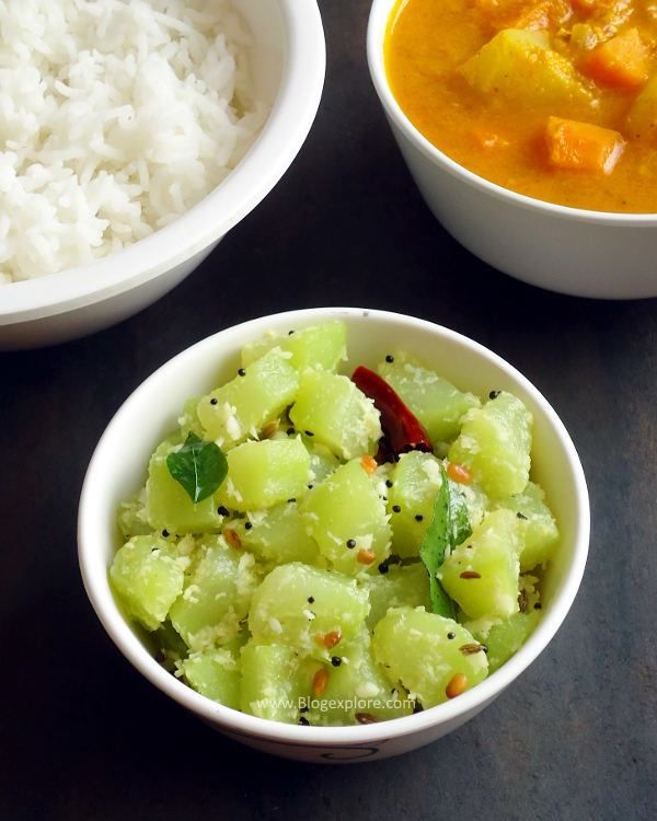 Chow chow poriyal recipe chayote squash indian style and coconut chow chow poriyal easy and delicious mildly spiced south indian style chayote squash curry with forumfinder Image collections