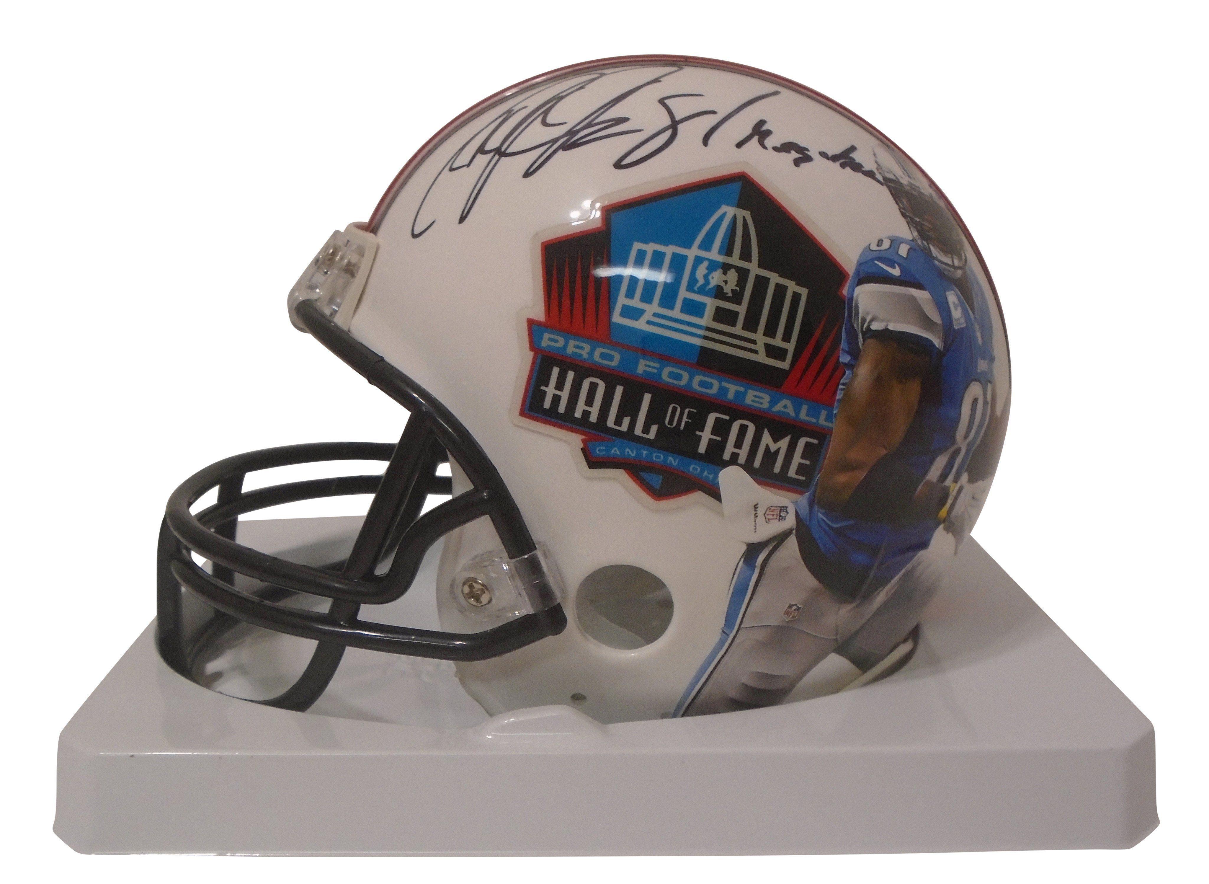 Calvin Johnson Autographed Pro Football Hall of Fame Riddell Mini Football Helmet w/ Inscription, Proof Photo