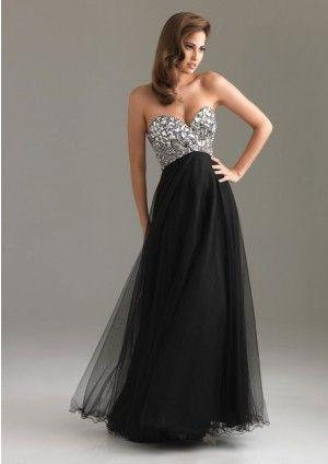 A-line Strapless Neckline Sleeveless Long Black Cheap Prom Dresses
