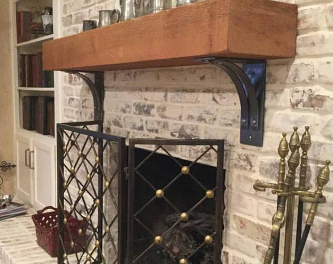Saranac Steel Mantle Corbels | Wrought Iron Bracket | One Pair | Heavy Duty Industrial Shelf Brackets | Rustic Counter-top Corbels