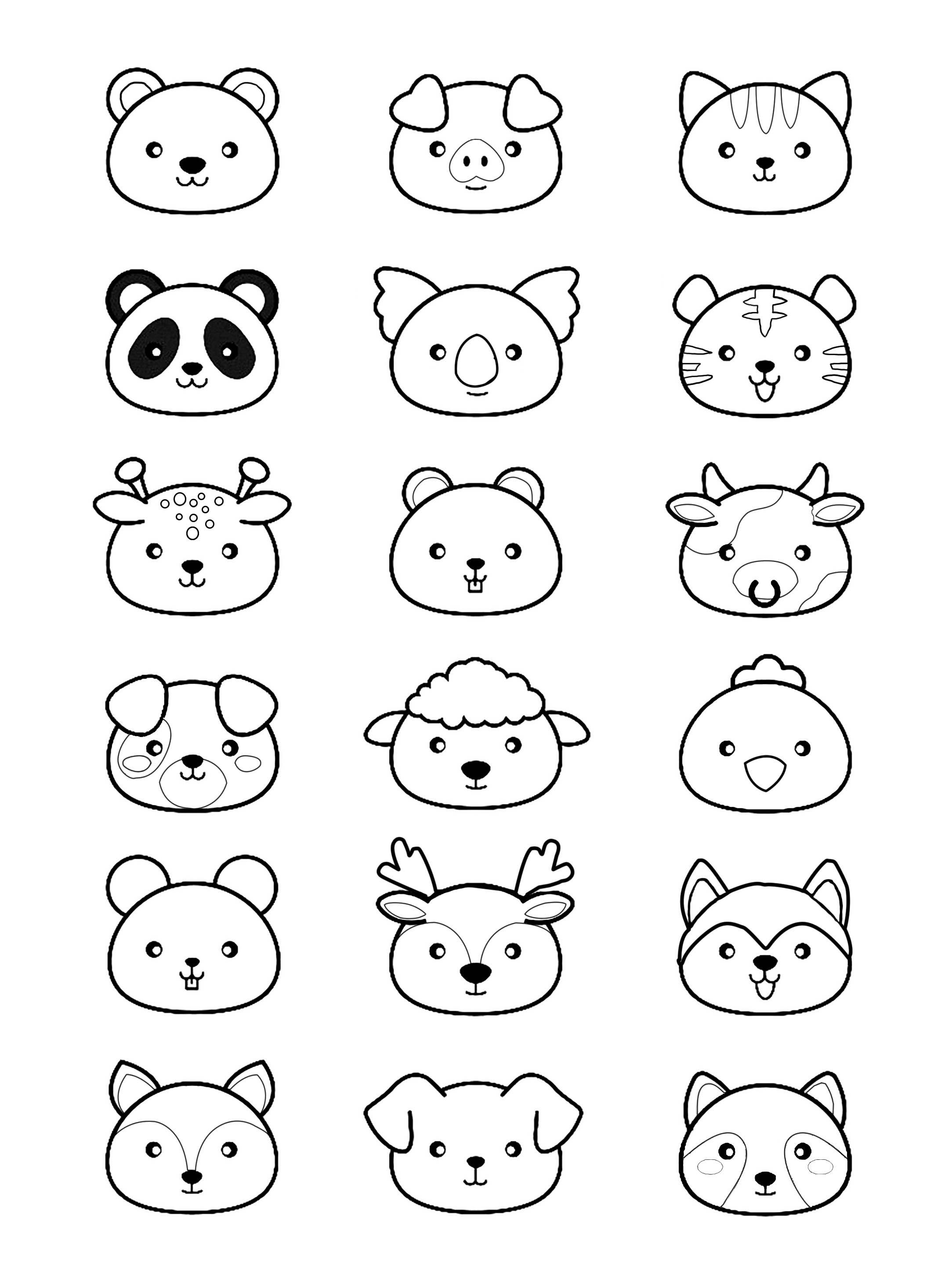Kawaii Animals Panda Coloring Pages For Adults Just Color