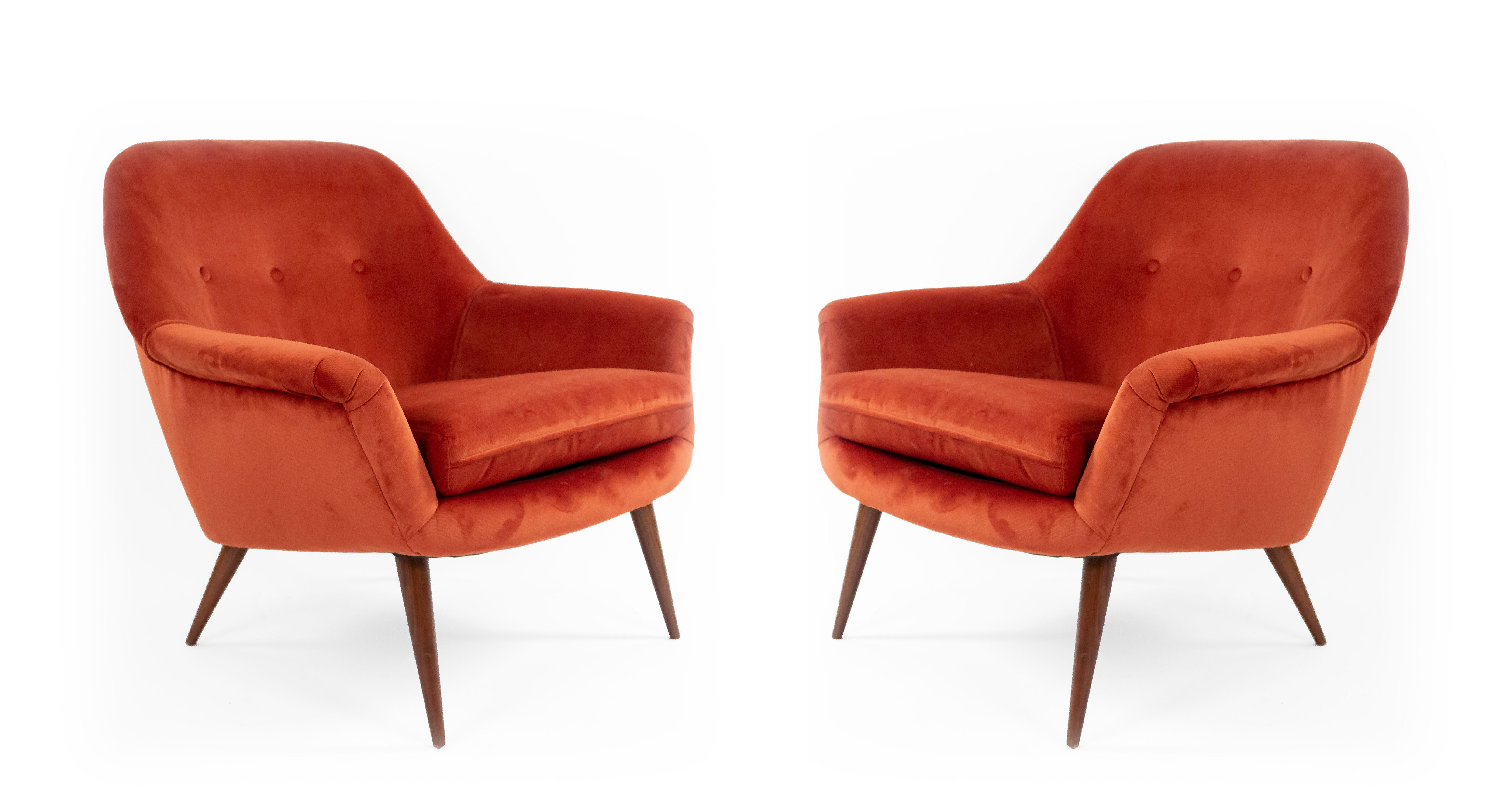 2 contemporary rust orange velvet arm chairs with button
