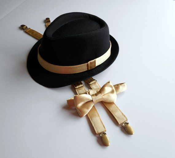 d1f8b496b165 Black hat, fedora, Gold Bow Tie, Suspenders, Ring Bearer, Oro, bowtie, 2  weeks before shipping