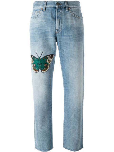 ab9afbaf55a6d GUCCI Embroidered Butterfly Boyfriend Jeans.  gucci  cloth  jeans ...