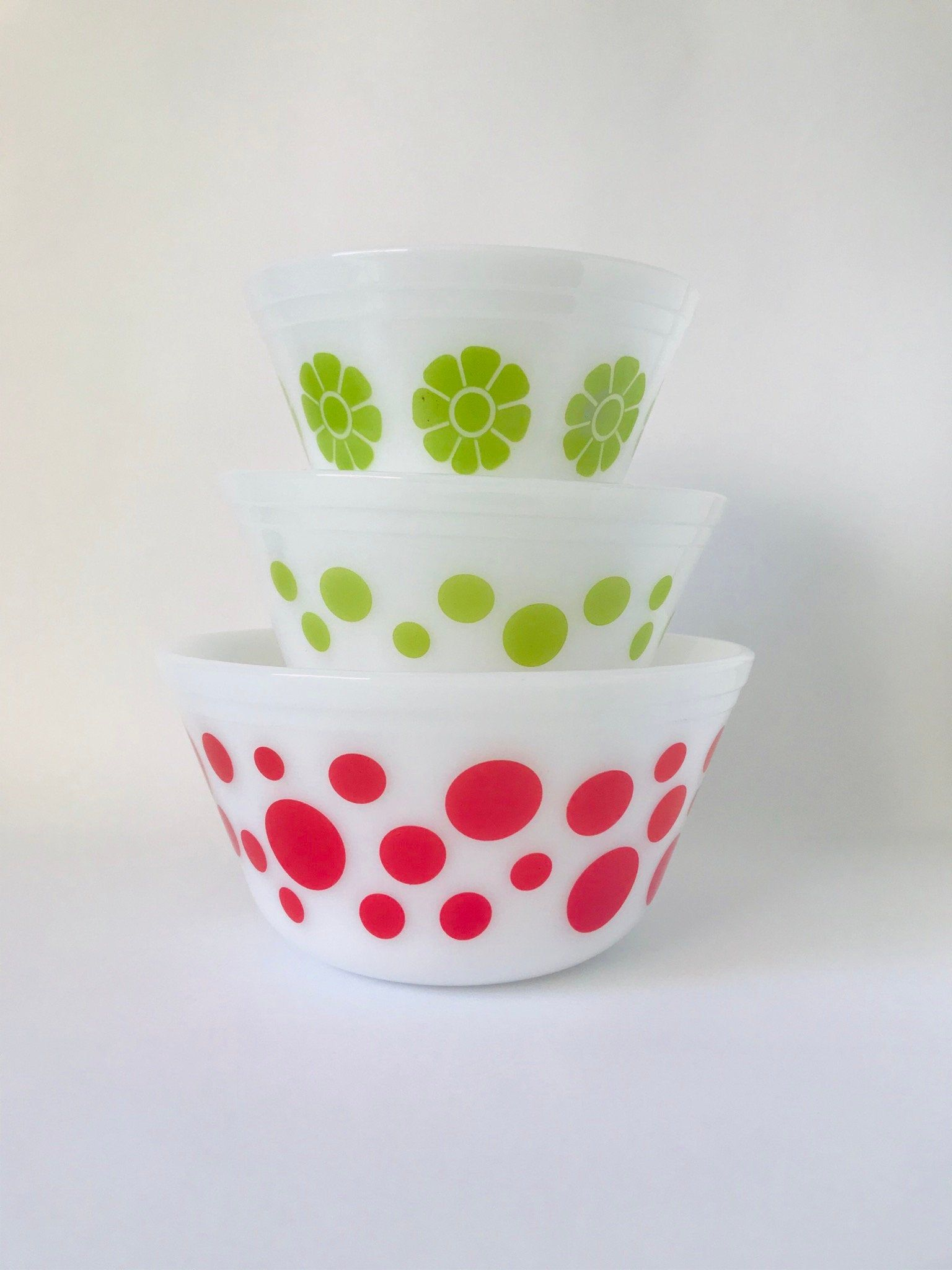 Set Of 3 Vintage Federal Milk Glass Red And Green Polka Dots