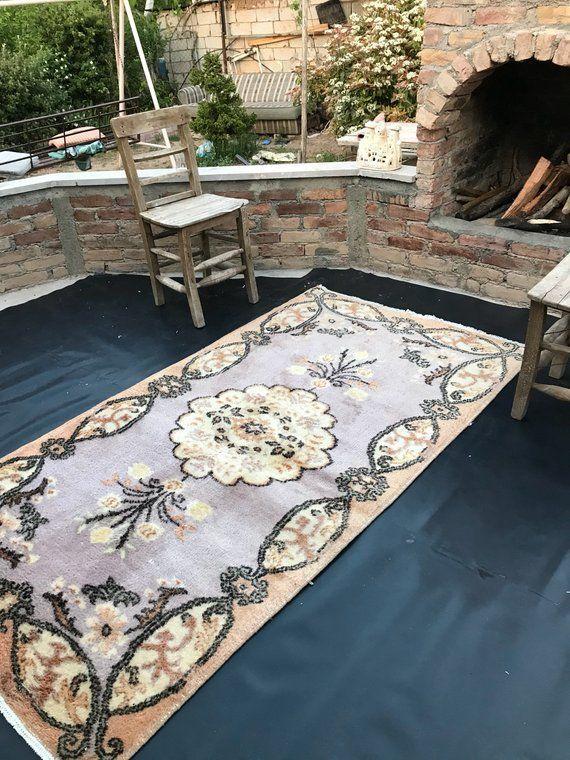 Vintage Area rug, Living Room Rug, Low Pile Carpet , Pastel rug