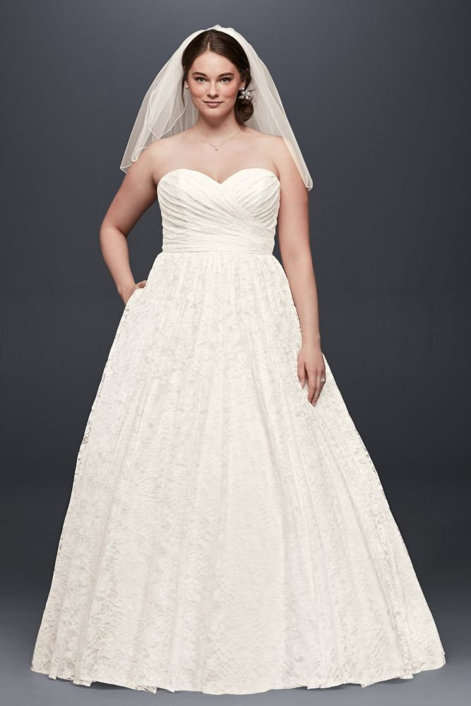 Extra Length Sweetheart Plus Size Lace Ball Gown Wedding Dress
