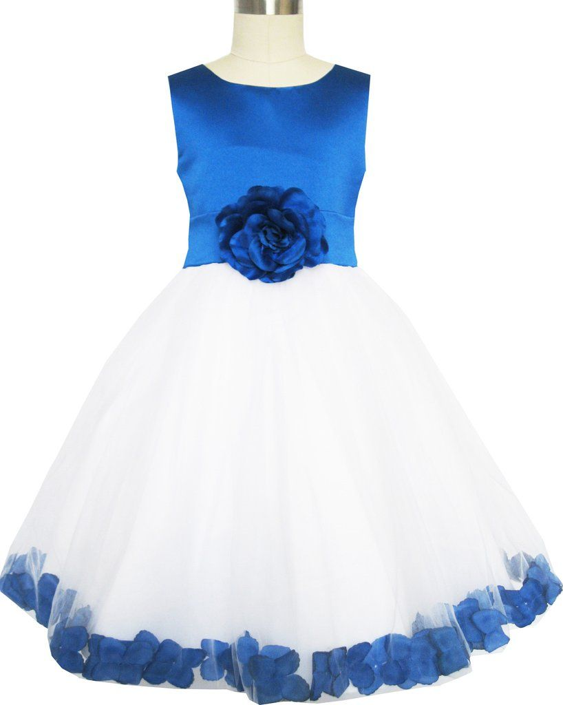 Girls dress blue flower tulle wedding pageant bridesmaid size