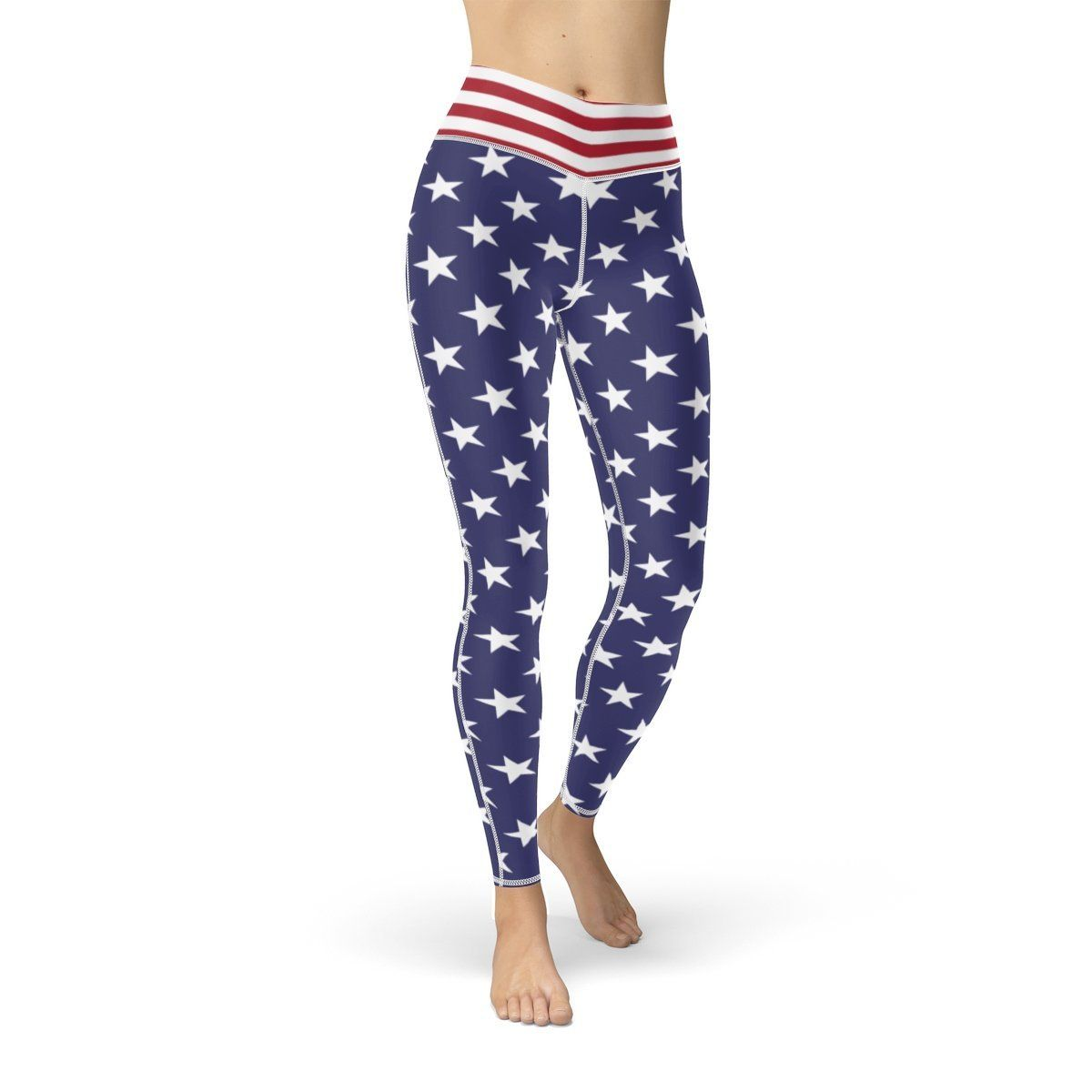 Patriotic Leggings with Stars /& Stripes from USA Flag Waistband Cut /& Sew Sport Leggings