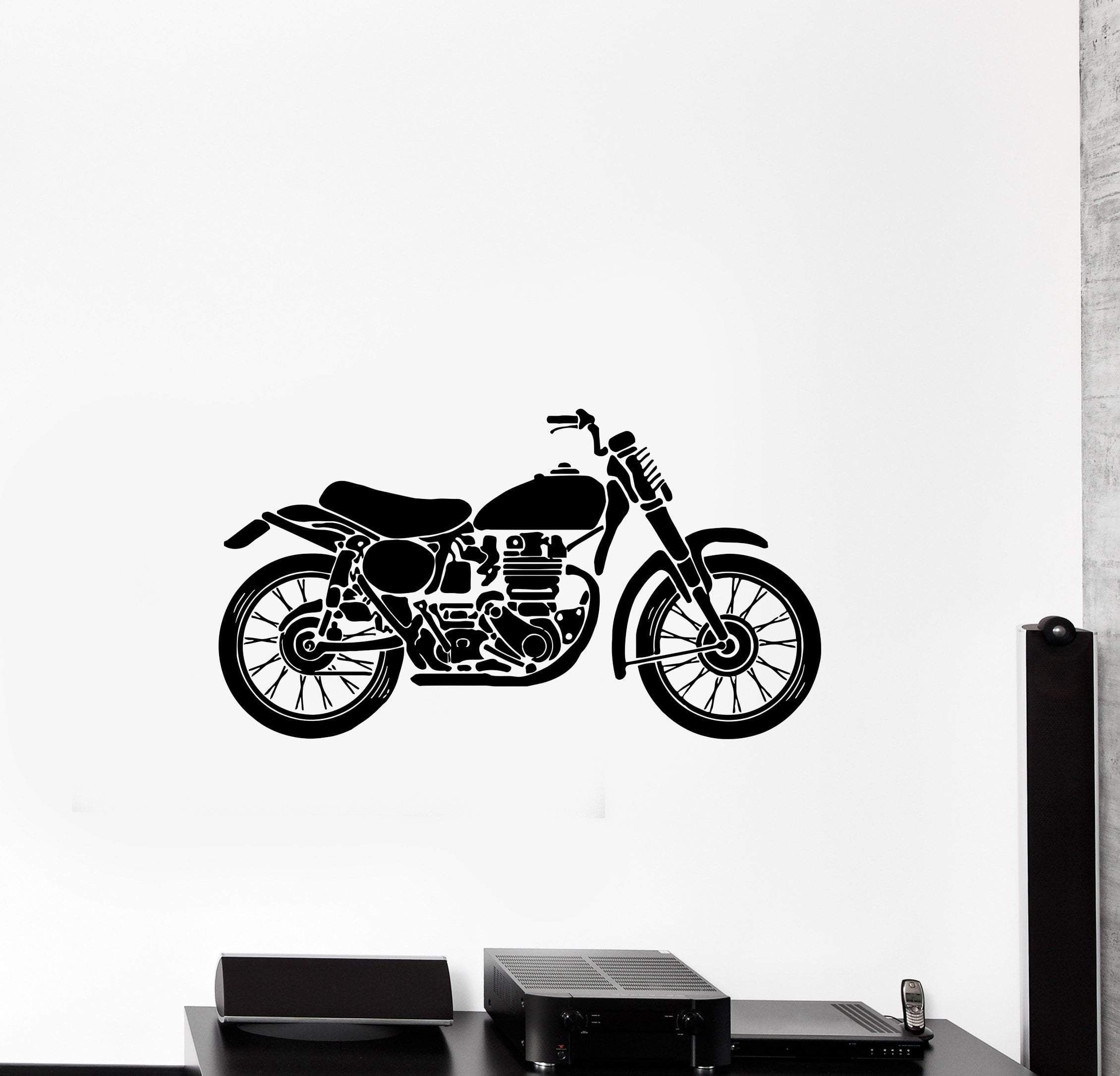 wall decal transport motorcycle garage decor bike vinyl on wall stickers for hall id=83118