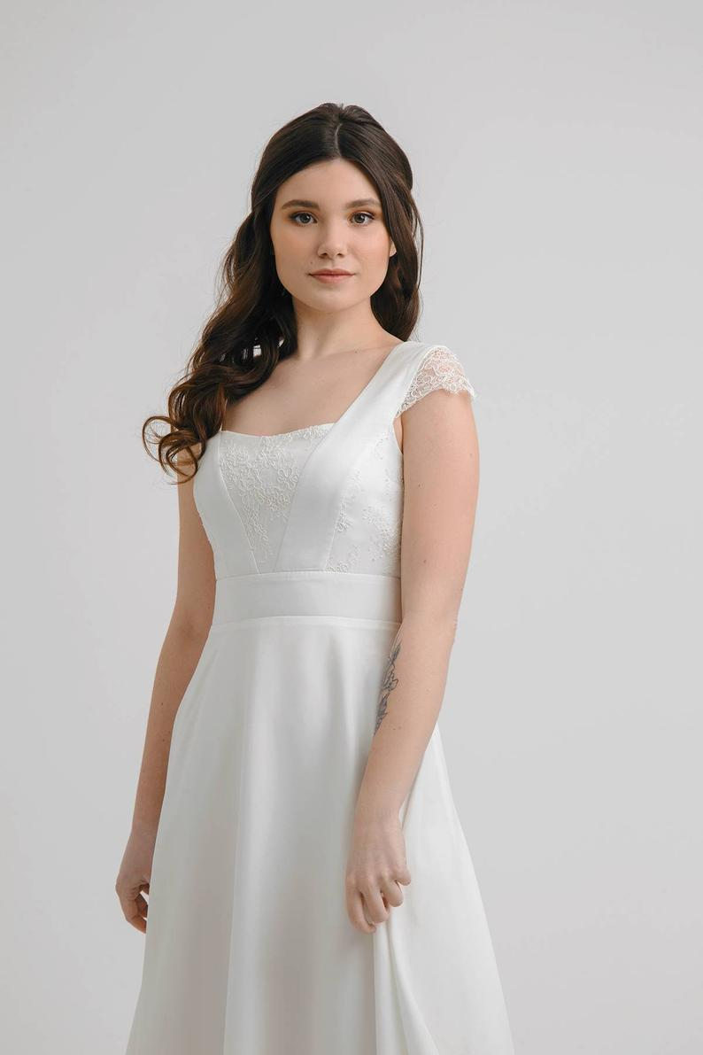 Ready To Ship Wedding Dress Tea Length Wedding Dress Etsy Short Wedding Dress Tea Length Wedding Dress Wedding Dresses Simple [ 1191 x 794 Pixel ]