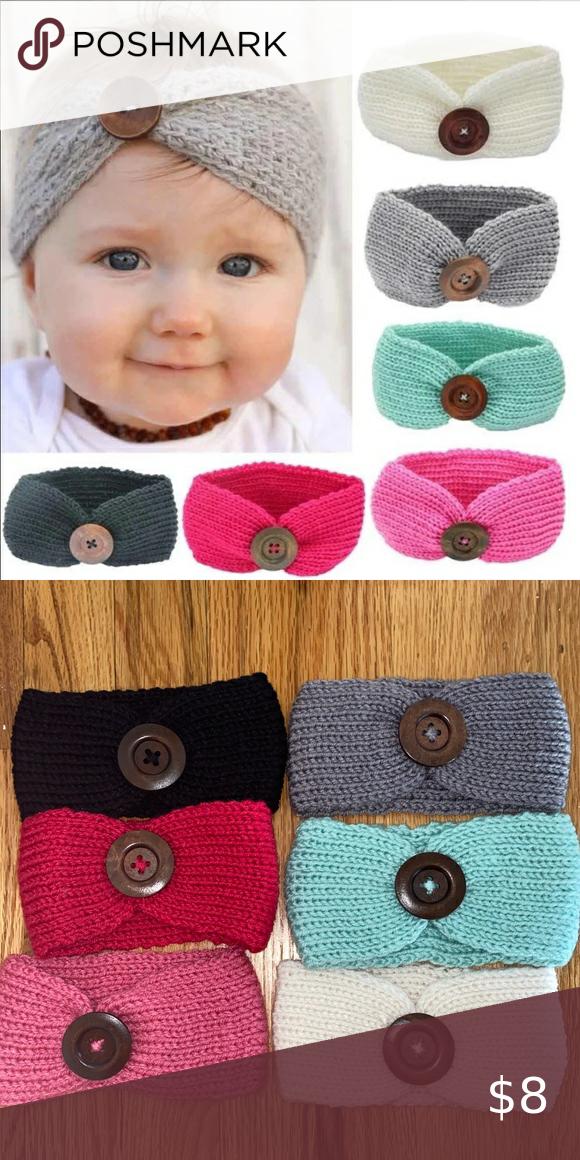 Newborn Baby Girls Toddler Crochet Knit Button Headband Hair Band Accessories