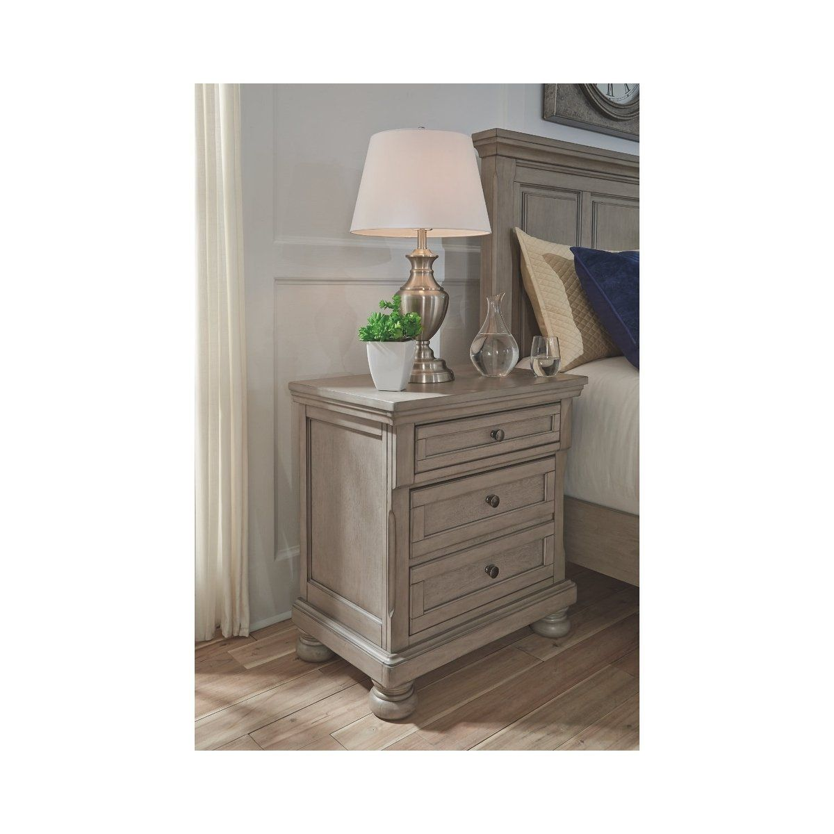 Signature Design By Ashley Lettner Light Grey Wood 2 Drawer Casual Style Nightstand Gray Signature Design By Ashley Ashley Furniture Industries Furniture