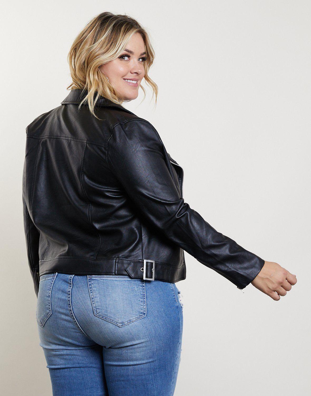 Plus Size Leather Biker Jacket Jackets, Faux leather
