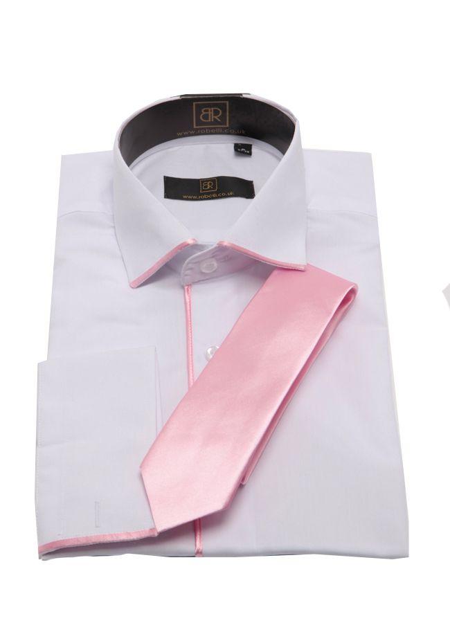Mens Pink Satin Trim Shirt & Tie S M L XL XXL Wedding Work Party ...