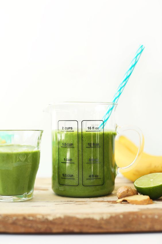 THE BEST Green Smoothie! Ginger, banana, pineapple, greens, lime juice and coconut milk! #vegan #glutenfree #smoothie #recipe…