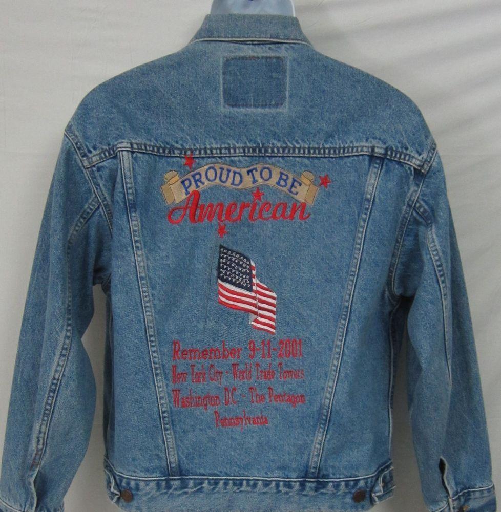 Levis 9 11 Twin Tower New York City Embroidered Tribute Denim Jacket Size Large Levis Jeanjacket Denim Coat Jacket Tall Jeans Jackets [ 1000 x 978 Pixel ]